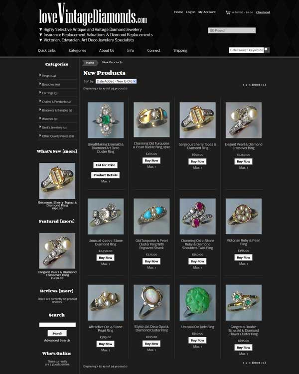 loveVintageDiamonds.com New Products Page