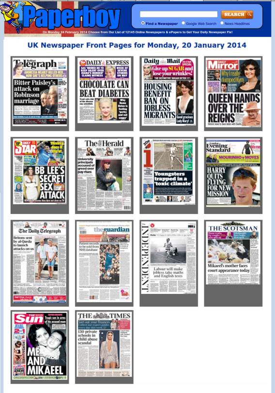 UK Newspaper Front Pages 20 Jan 2014