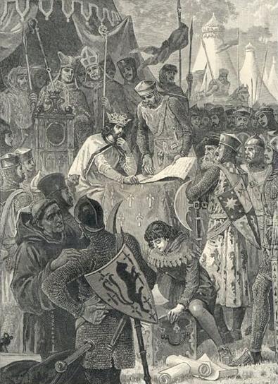 King Johns seals Magna Carta at Runnymede