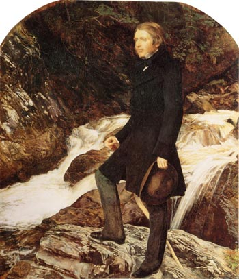 John Ruskin painted by the Pre-Raphaelite artist, John Everett Millais, standing at Glenfinlas, Scotland, 1853–54