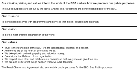 BBC Mission, Vision and Values