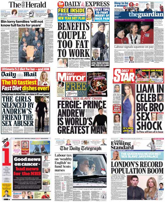 Newspaper Front Pages, 6 January 2015