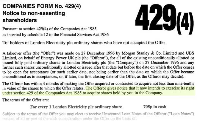London Electricity plc Compulsory Share Purchase