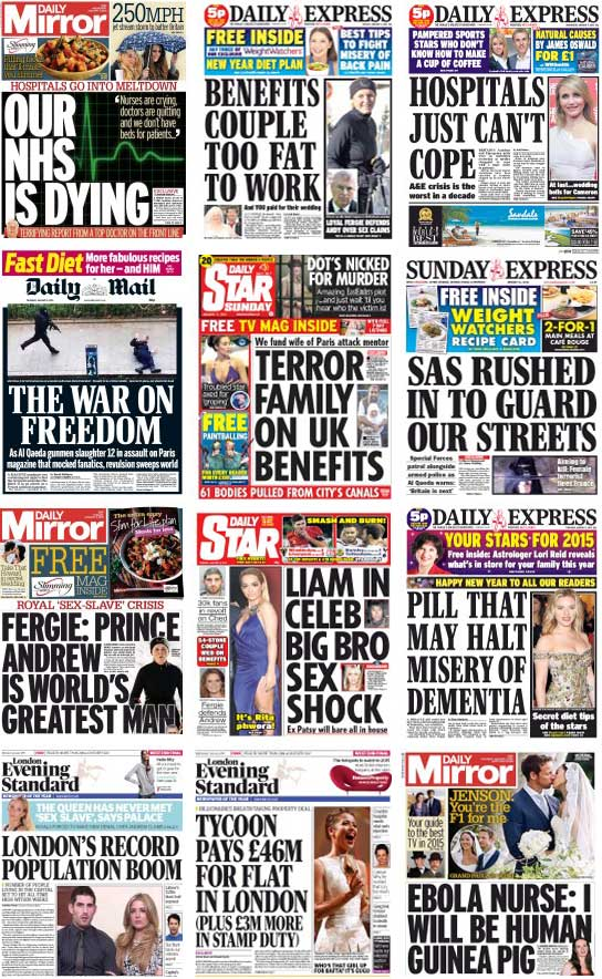 UK Front Pages, 1-12 January 2105